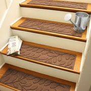 Bungalow Flooring Aqua Shield Dark Brown Brittany Leaf Stair Tread (Set of 4)