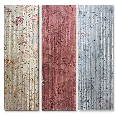 All My Walls 'Weathered Metal' by Hilary Winfield 3 Piece Graphic Art Plaque Set