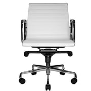 Wobi Office Reed Mid-Back Leather Desk Chair; White