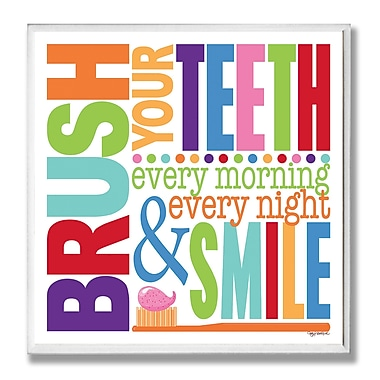 Stupell Industries Brush Every Morning Rainbow Typography Bathroom Wall Plaque