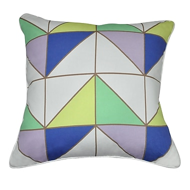 Loom and Mill Geometric II Cotton Throw Pillow; Mint, Lavender, Blue, Yellow, Brown and White