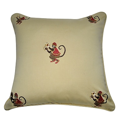 Loom and Mill Decorative Cotton Throw Pillow; Khaki, Brown, Red, Silver and Gold