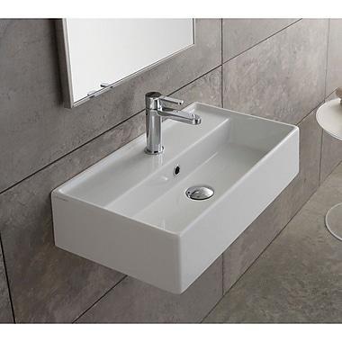 Scarabeo by Nameeks Teorema 31'' Wall Mounted Bathroom Sink w/ Overflow; Single Hole