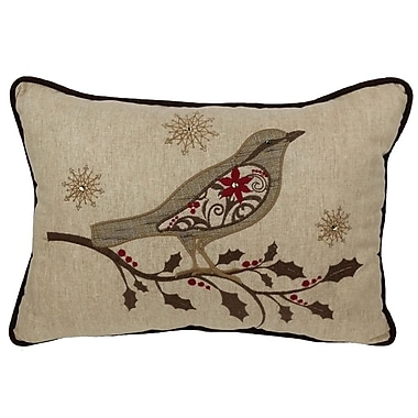 Xia Home Fashions Bird on Twig Emboridery Lumbar Pillow