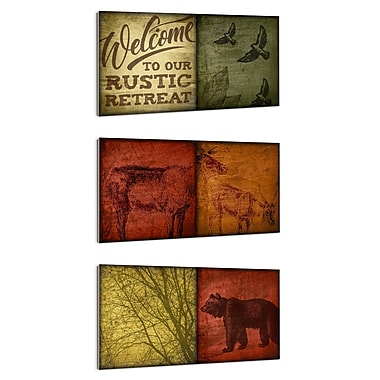 Stupell Industries Rustic Wildlife Patchwork-look 3 Piece Wall Plaque Set