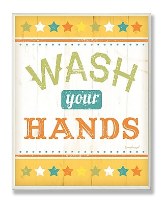 Stupell Industries Wash Your Hands Rainbow Typography Bathroom Wall Plaque