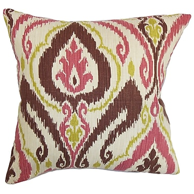 The Pillow Collection Obo Ikat Cotton Throw Pillow; 18'' x 18''