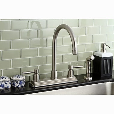 Kingston Brass Concord Double Handle Centerset Kitchen Faucet w/ Side Spray