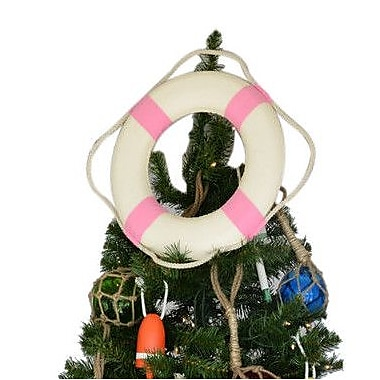 Handcrafted Nautical Decor White Lifering Christmas Tree Topper Decoration; Light Blue