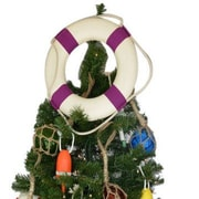 Handcrafted Nautical Decor White Lifering Christmas Tree Topper Decoration; Purple