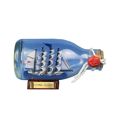 Handcrafted Nautical Decor Flying Cloud Ship in a Glass Bottle Christmas Tree Ornament