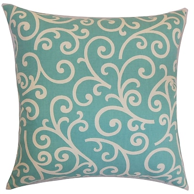 The Pillow Collection Faya Swirls Cotton Throw Pillow; 18'' x 18''