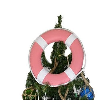 Handcrafted Nautical Decor Lifering w/ White Bands Christmas Tree Topper Decoration; Pink
