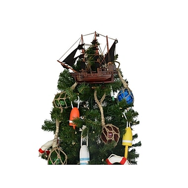 Calico Jack's the William Wooden Model Pirate Ship Christmas Tree Topper Decoration