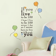 Room Mates Popular Characters Winnie The Pooh ''Live to be 100'' Wall Decal