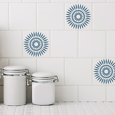 Odhams Press Retile Sunflower Wall Decal (Set of 10); Blue on White