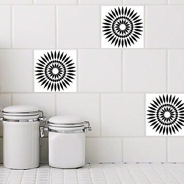 Odhams Press Retile Sunflower Wall Decal (Set of 10); Black on White