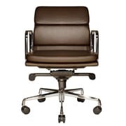 Wobi Office Clyde Mid-Back Leather Desk Chair; Brown