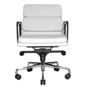 Wobi Office Clyde Mid-Back Leather Desk Chair; White