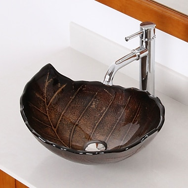 Hot Melted and Hand Painted Autumn Leaf Shaped Bow Glass Specialty Vessel Bathroom Sink w/ Overflow
