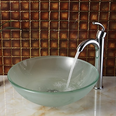Elite Double Layered Tempered Glass Circular Vessel Bathroom Sink