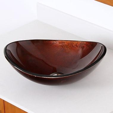 Elite Hand Painted Glass Oval Vessel Bathroom Sink; Dark Bronze