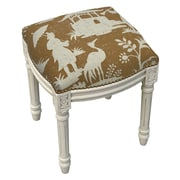 123 Creations Floral Chinoiserie Linen Upholstered Vanity Stool; Brown