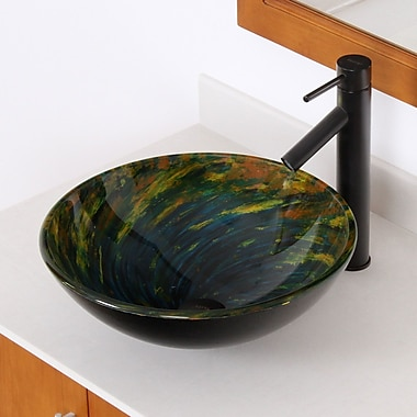 Elite Whirlpool Mossy Lake Hand Painted Bowl Circular Vessel Bathroom Sink; Oil Rubbed Bronze