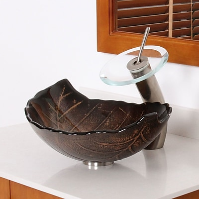 Elite Hot Melted and Hand Painted Glass Autumn Leaf Shaped Bow Vessel Bathroom Sink; Brushed Nickel