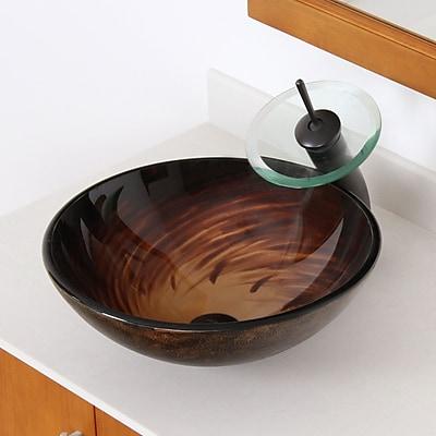 Elite Whirlpool Glass Circular Vessel Bathroom Sink; Oil Rubbed Bronze