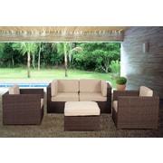 International Home Miami St.Tropez 5 Piece Deep Seating Group w/ Cushions; Sunbrella Brown