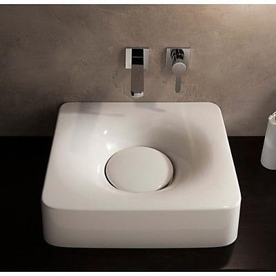 Scarabeo by Nameeks Fuji Ceramic Rectangular Vessel Bathroom Sink w/ Faucet; 1 Hole