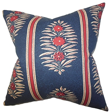The Pillow Collection Ginevra Floral Faux Leather Throw Pillow Cover