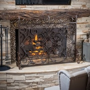 Home Loft Concepts Laurentia Panel Iron Fireplace Screen; Brown