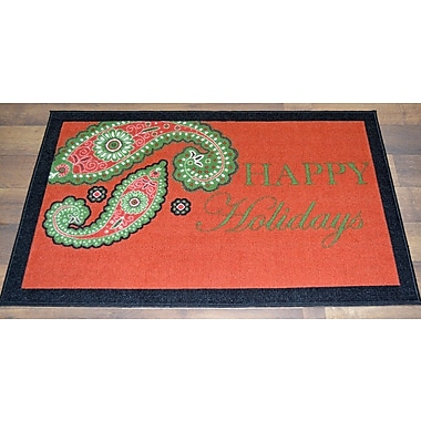 Ottomanson Happy Holidays Paisley Mat
