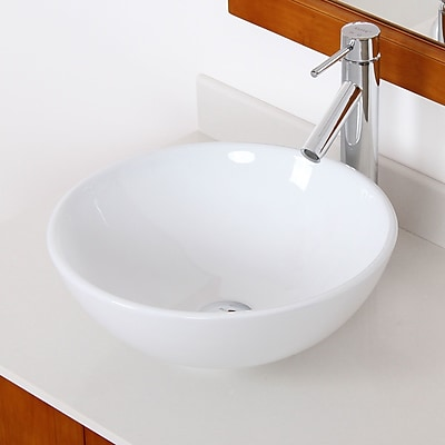 Elite Ceramic Circular Vessel Bathroom Sink; Chrome