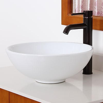 Elite Ceramic Circular Vessel Bathroom Sink; Oil Rubbed Bronze