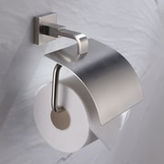 Kraus Aura Wall Mount Toilet Paper Holder w/ Cover; Brushed Nickel