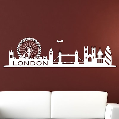 Style and Apply London Skyline Wall Decal; Green