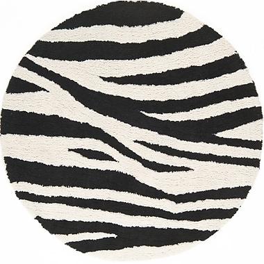 Continental Rug Company Cloud Ivory / Black Area Rug; Round 5'