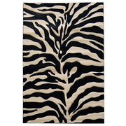 DonnieAnn Company Sculpture Black/Cream Zebra Skin Print Area Rug; 5' x 7'