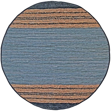 St. Croix Matador Leather Chindi Gray Area Rug; Round 6'