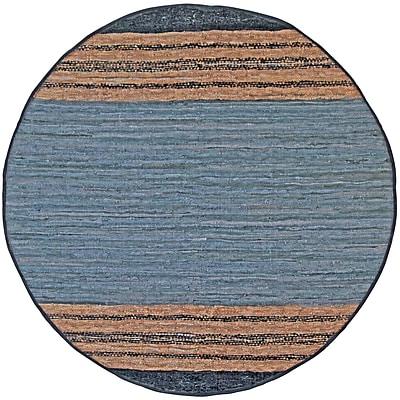St. Croix Matador Leather Chindi Gray Area Rug; Round 6'