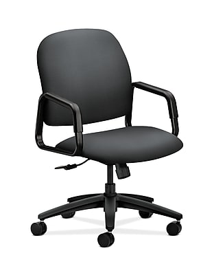 HON Solutions Seating Fabric Executive Office Chair, Fixed Arms, Onyx (HON4001NR10T)