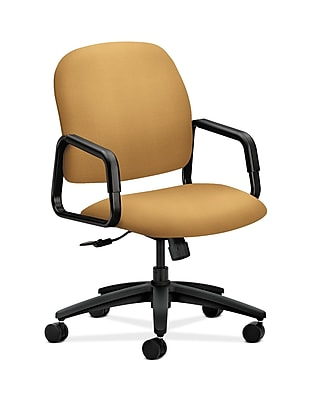 HON Solutions Seating Fabric Executive Office Chair, Fixed Arms, Mustard (HON4001NR26T)