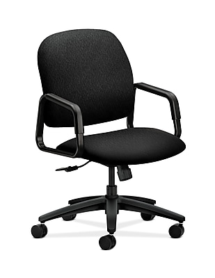HON Solutions Seating Fabric Executive Office Chair, Fixed Arms, Black (HON4001NT10T)