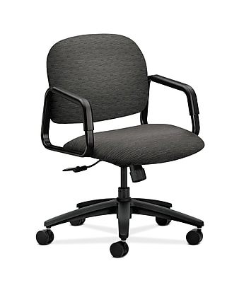 HON Solutions Seating Fabric Computer and Desk Office Chair, Fixed Arms, Onyx (HON4002AI10T)