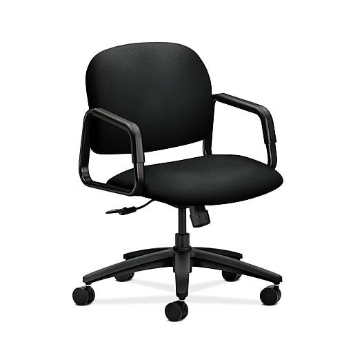 Pleasing Hon Hon4002Cu10T Solutions Seating Mid Back Office Computer Chair Fixed Arms Black Fabric Ocoug Best Dining Table And Chair Ideas Images Ocougorg