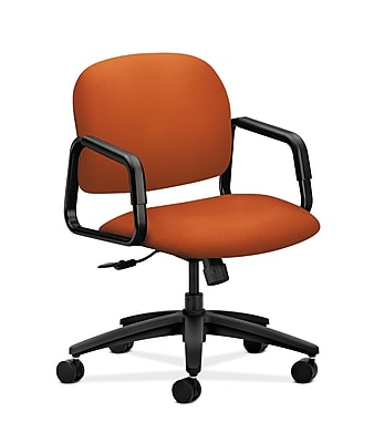 HON Solutions Seating Fabric Computer and Desk Office Chair, Fixed Arms, Tangerine (HON4002CU46T)