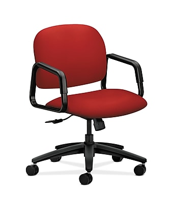 HON Solutions Seating Fabric Computer and Desk Office Chair, Fixed Arms, Tomato (HON4002CU66T)